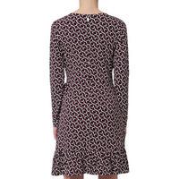 Geometric Ruffle Wrap Dress