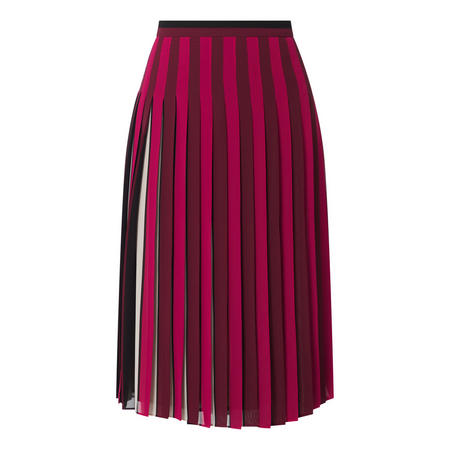 Striped Georgette Pleated Skirt