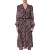 Geometric Belted Shirt Dress