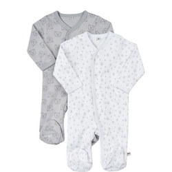 Two-Pack Bear Print Sleepsuits
