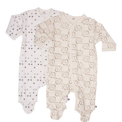 Two-Pack Elephant Print Sleepsuits