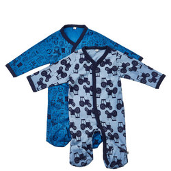 Two-Pack Tractor Print Sleepsuits