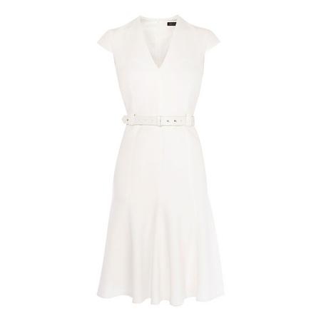 Pleated-Hem Tailored Dress