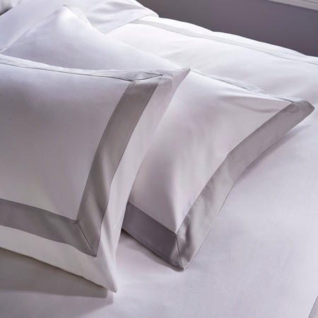 1000 Thread Count Banded Housewife Pillowcase Pair Grey