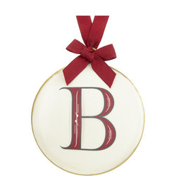 Enamel 'B' Tree Decoration 8cm