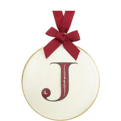 Enamel 'J' Tree Decoration 8cm