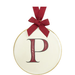 Enamel 'P' Tree Decoration 8cm