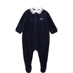 Velour Polo Collar Babygrow