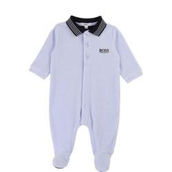 Polo Collar Velour Babygrow