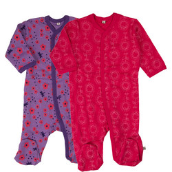 Two-Pack Flower Print Sleepsuits