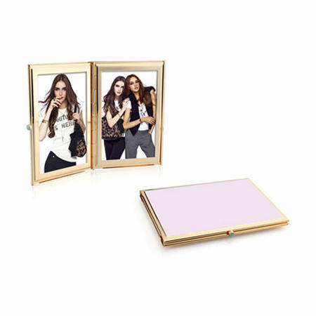 Pastel Pink Gold Double Frame 2x3 Inches