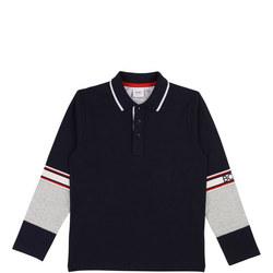 Long Sleeve Colour Block Polo Shirt