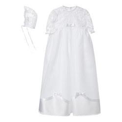 Satin Trim Christening Gown With Bonnet