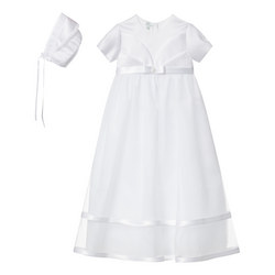 Double Hem Tulle Christening Gown With Bonnet