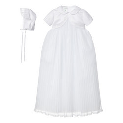 Pleated Tulle Christening Gown And Bonnet