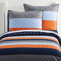 Block Stripe Quilted Bedspread