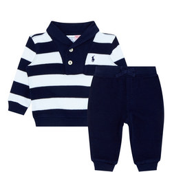 Baby Two-Piece Striped Rugby Shirt and Sweat Pants