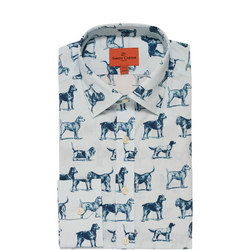 Dog Print Single Cuff Shirt