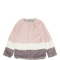 Three-Tone Faux Fur Stripe Jacket