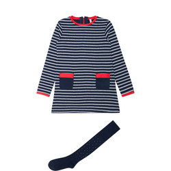Girls Two-Piece Striped Dress and Tights Set