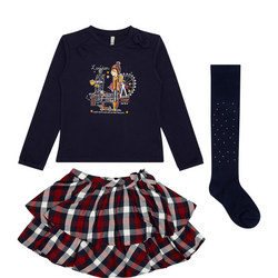 Girls Three-Piece London Print T-Shirt and Check Skirt Set