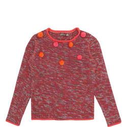 Girls Pom Pom Knit Sweater