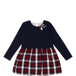 Girls Bow Applique Collar Dress