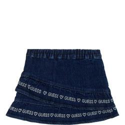Girls Denim Frilled Logo Skirt