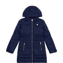 Girls Quilted Metal Logo Coat