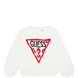 Girls Faux Fur Logo Sweater