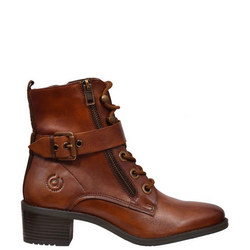Buckle Detail Lace-Up Boot