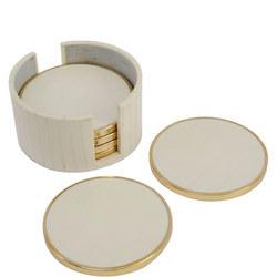 Set Of Six Cream And Brass Round Coasters