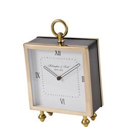 Satin Grey And Gold Square Mantel Clock