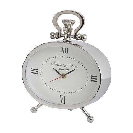 Oval Silver Aluminium Mantel Clock