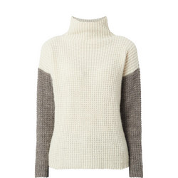 Waffle Knit High Neck Sweater