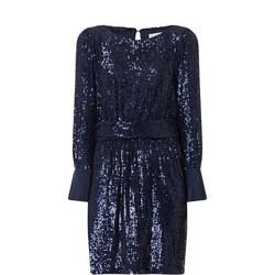 Long Sleeve Mini Sequin Dress