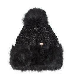 Oversized Faux Fur Trim Beanie Hat