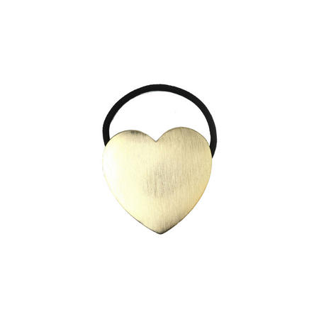 Brushed Metal Heart Hair Tie