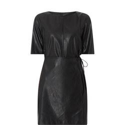 Faux Leather Wrap Dress
