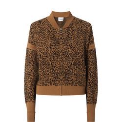 Leopard Knit Bomber Jacket