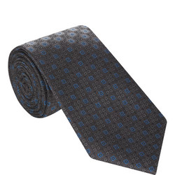 Graphic Tile Pattern Silk Tie