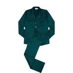 Contrast Piping Silk Pyjamas