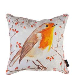 Robin on Perch Cushion Multi 50cm x 50cm