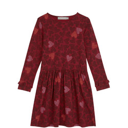 Berry Heart Print Ruffle Dress
