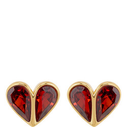 Small Stone Heart Stud Earrings