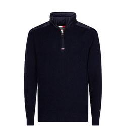 Mixed Media Zip Mock Sweater