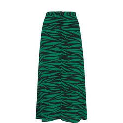 Tiger Print Button Skirt