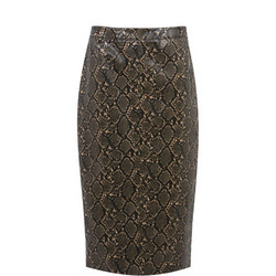 Snake Faux Leather Midi Skirt