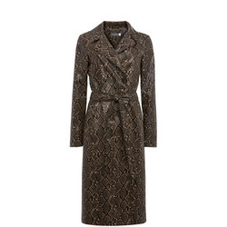 Snake Faux Leather Trench Coat