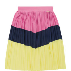 Girls Striped Pleated Skirt